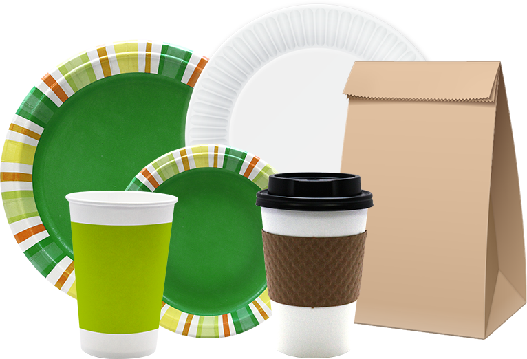 Group of Apsen Products: Plate Bag and Cup